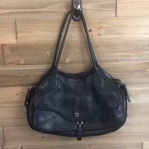 Cole Haan Black cobbled Leather shoulder bag